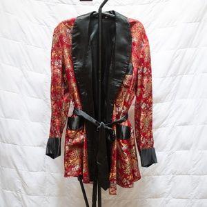Vintage Kimono Men's Red Smoking Jacket Large